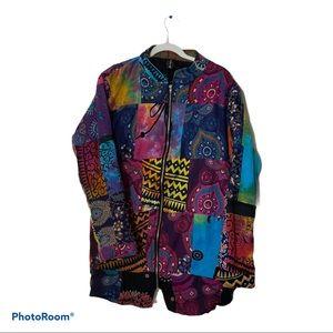Sacred Threads Multicolor Patchwork Quilt Jacket M